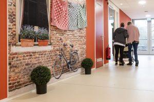 Behang met fiets bij WelThuis