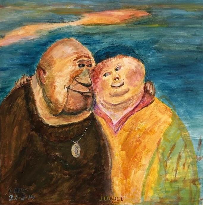 Schilderij Jut en Jul, gemaakt door Lots